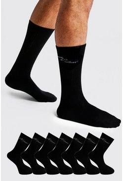 MAN Signature 7 Pack Sport Socks, Black