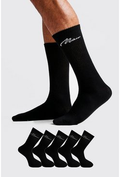 Black MAN Signature 5 Pack Sport Socks
