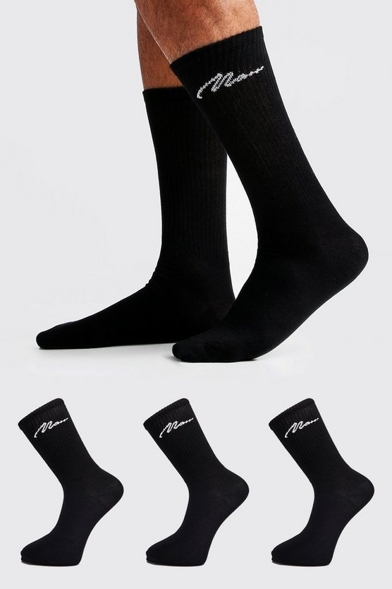Mens Black MAN Signature 3 Pack Sport Socks