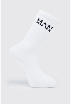 White MAN Dash 7 Pack Trainer Socks
