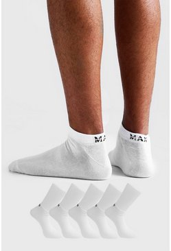 MAN Dash 5 Pack Trainers Socks, White