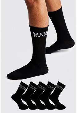 MAN Dash 5 Pack Sport Socks, Black