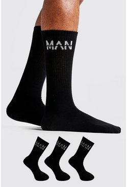 Mens Black MAN Dash 3 Pack Sport Socks