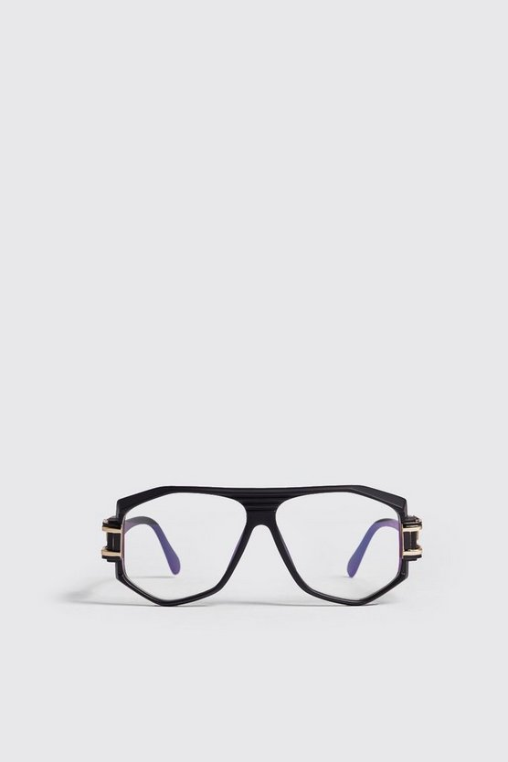 Black Vintage Look Fashion Glasses, Black, HOMMES