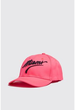 Neon Miami Embroidered Cap, Neon-pink, HERREN