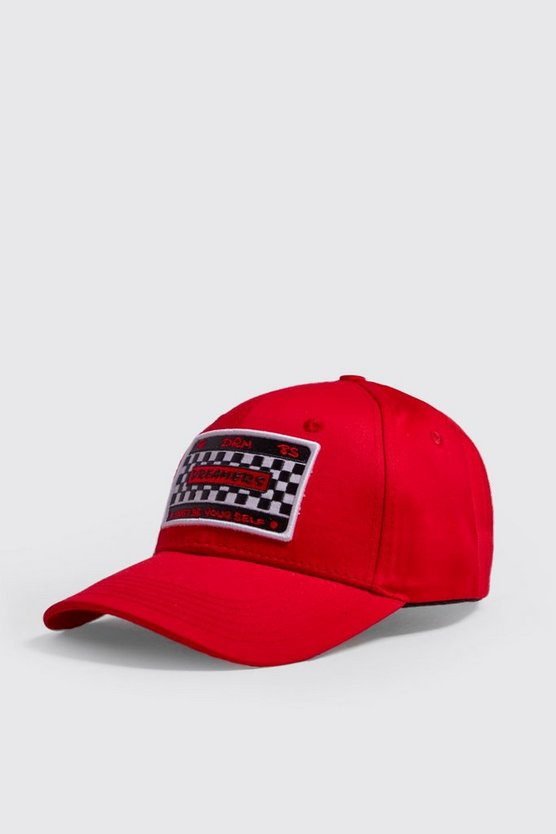 Mens Red Motorsport Embroidered Cap
