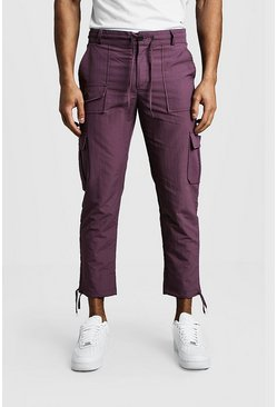 Mens Purple Cropped Cargo Pants With Utility Pocket