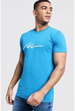 Mens Sapphire 3D Embroidery MAN Signature T-Shirt