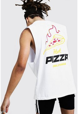 Drop Armhole Tank With Pizza Graphic, White, HOMMES