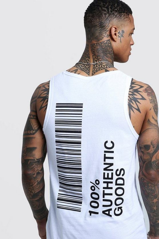 Longline Vest With Front & Back Print, White, HERREN