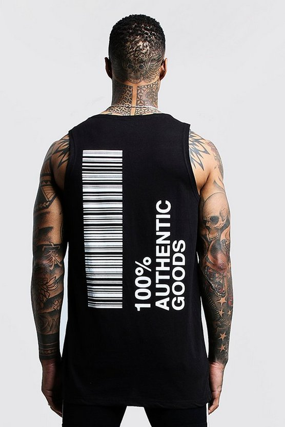Longline Vest With Front & Back Print, Black, HERREN