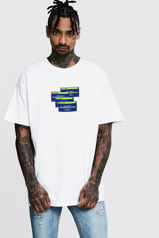 Oversized Graphic Print T-Shirt, White, HOMMES