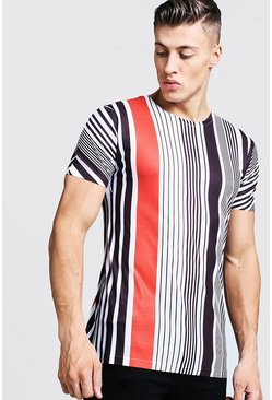 Mens White Contrast Vertical Stripe T-Shirt
