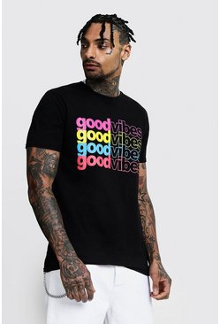 Mens Black Rainbow Slogan T-Shirt