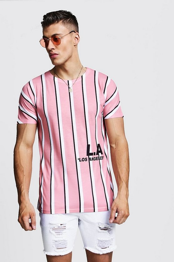 Pink Stripe T-Shirt With L.A Print