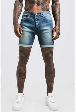 Stretch Skinny Fit Antique Wash Jean Short