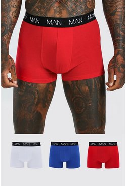 Mens Multi 3 Pack Mixed Colour MAN Dash Trunks