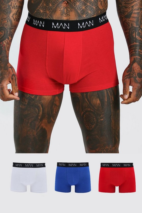 3 Pack Mixed Colour MAN Dash Trunks, Multi, HOMMES