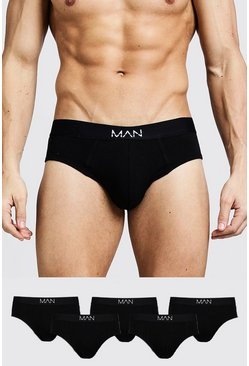 5 Pack MAN Dash Breifs, Black