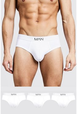 Mens White 3 Pack MAN Dash Briefs