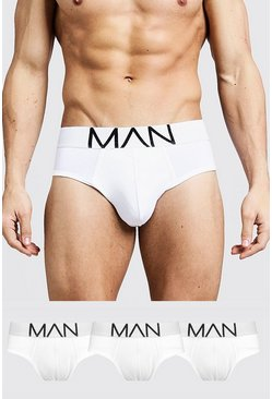 Mens White 3 Pack MAN Logo Briefs