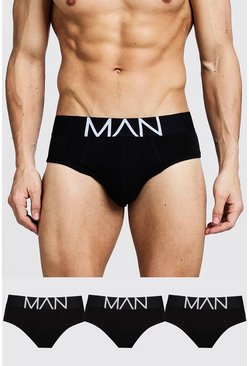 Mens Black 3 Pack MAN Logo Briefs