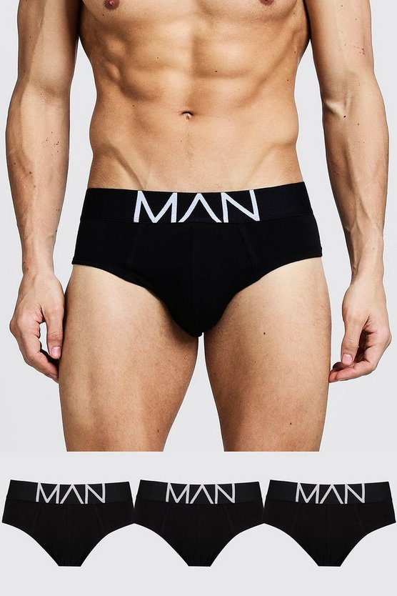 3 Pack MAN Logo Briefs, Black, HOMMES