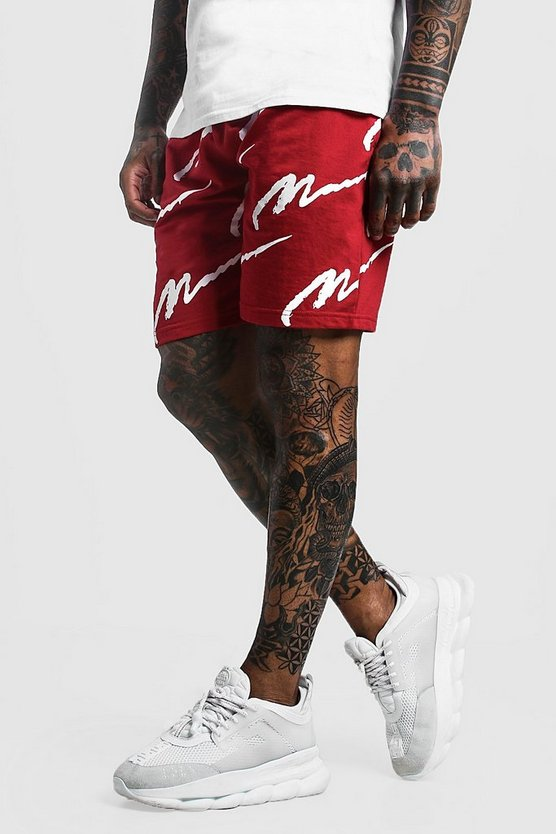 All Over MAN Print Mid Length Short