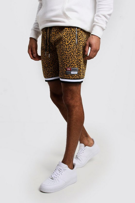 Mens Animal Leopard Sports Tape Detail Short
