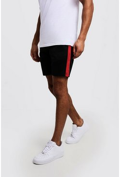 Mens Red Side Panel Tricot Mid Length Short