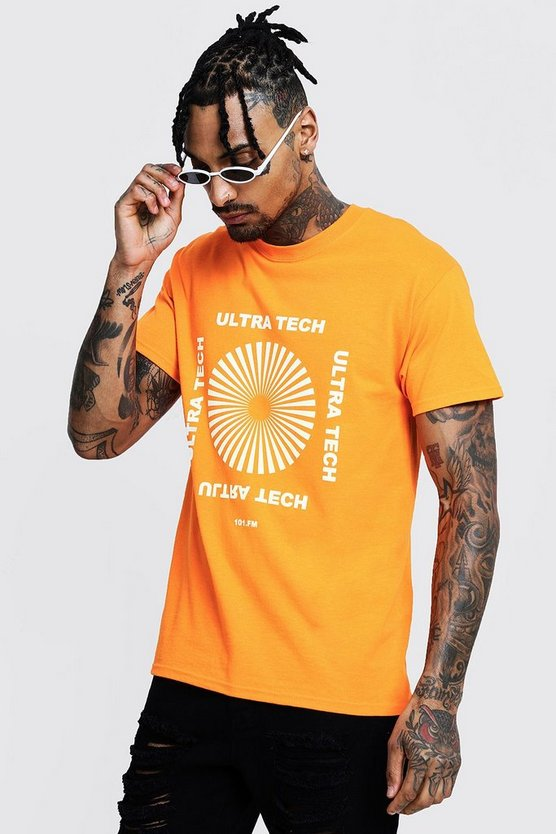 Regular Ultra Neon Print Tee, Orange, HOMMES