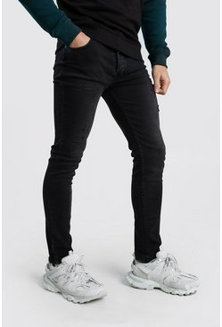 Mens Charcoal Skinny Fit Jeans With Light Distressing