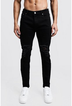 Mens Black Skinny Fit Jeans With Ripped Knees