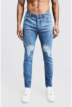 Mens Wash blue Skinny Fit Jeans With Ripped Knees