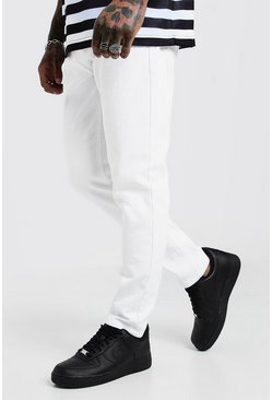 Mens White Slim Fit Rigid Denim Jeans