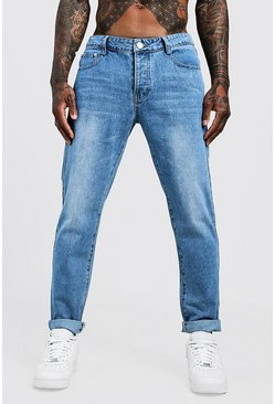Mens Vintage wash Slim Fit Rigid Denim Jeans