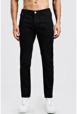 Jean coupe slim rigide en denim, Noir, Homme
