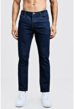 Jean coupe slim rigide en denim, Indigo, Homme