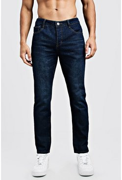 Steife Slim-Fit Jeans aus Denim, Marineblau