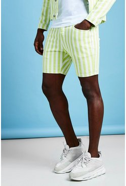 Mens Neon-lime Slim Fit Striped Denim Shorts
