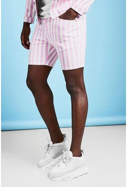 Mens Pink Slim Fit Striped Denim Shorts