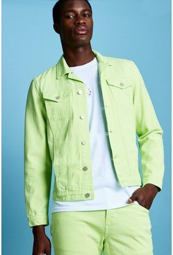 Mens Neon-lime Regular Fit Denim Western Jacket