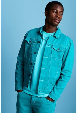 Mens Teal Regular Fit Denim Western Jacket