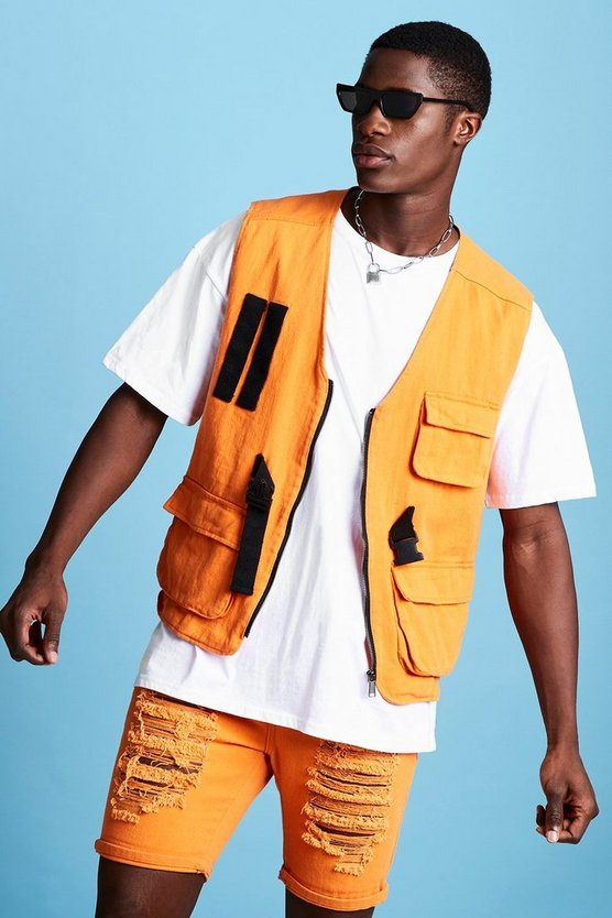 Mens Orange Sleeveless Denim Utility Vest