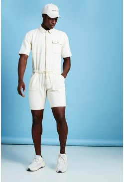 Mens Ecru Short Length Denim Jumpsuit