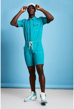 Mens Teal Short Length Denim Jumpsuit