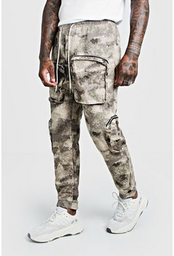 Mens Blurred Camo Cargo Trouser With 3D Pockets