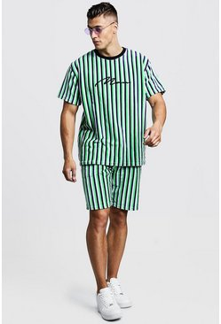 Ensemble short & T-shirt velours MAN Signature, Citron vert, Homme