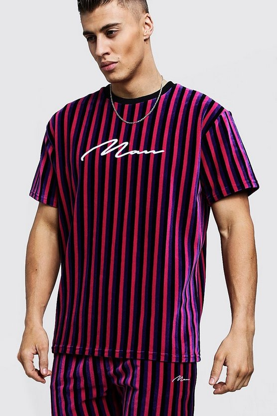 Pink MAN Signature Velour Stripe T-Shirt & Short Set