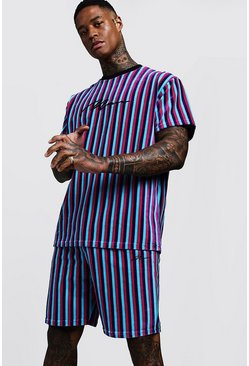 Mens Blue MAN Signature Velour Stripe T-Shirt & Short Set